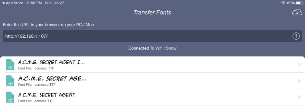 All Fonts transfer fonts view