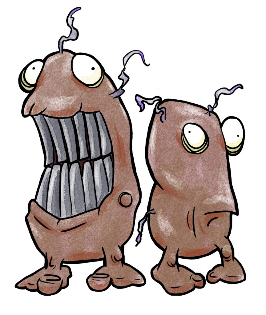 The Iron-toothed Grubkins, sentient plant imps that enjoy pilfering things from hunters and gatherers.