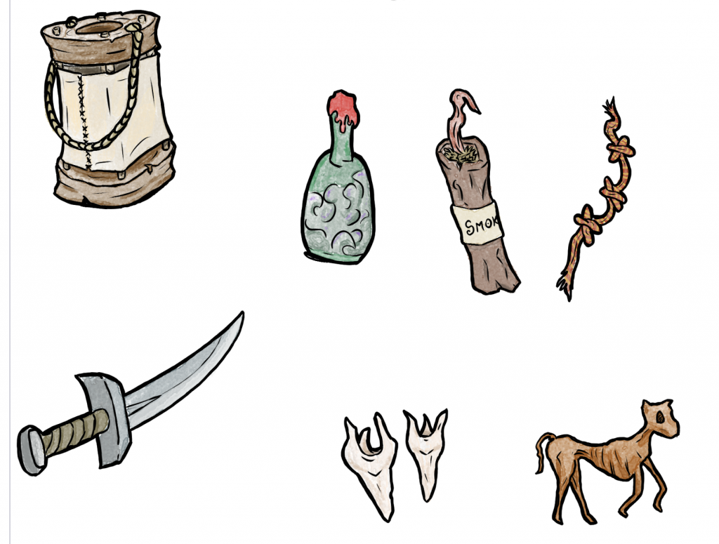 items for item cards in first mini-adventure