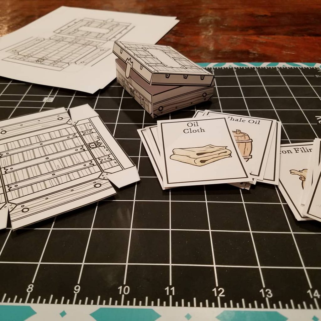 item cards and paper equipment chests