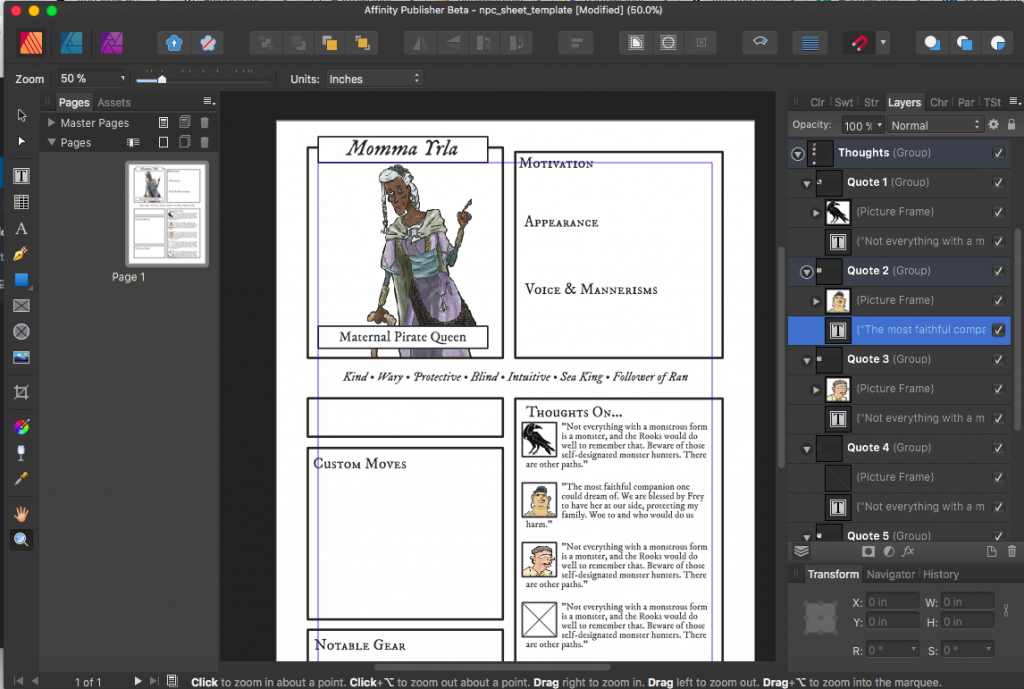 affinity publisher character sheet template