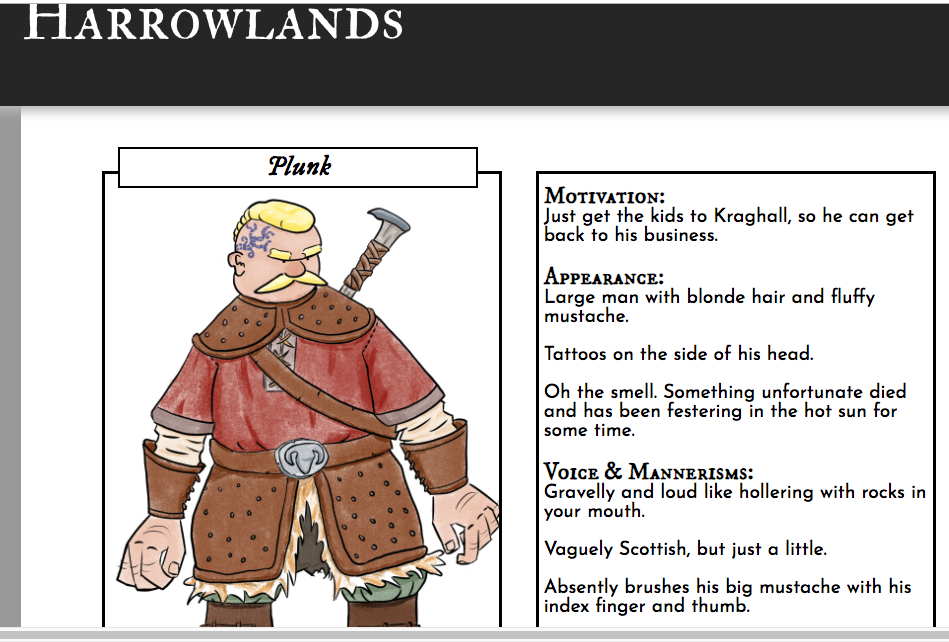 harrowlands.com character web page - plunk
