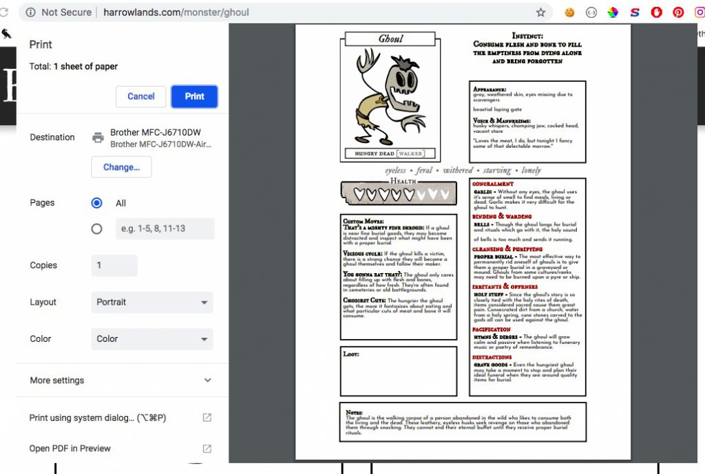 screenshot of harrowlands ghoul monster page (print preview)