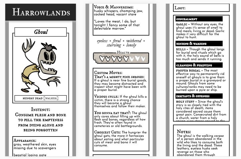screenshot of harrowlands ghoul monster page (mobile)