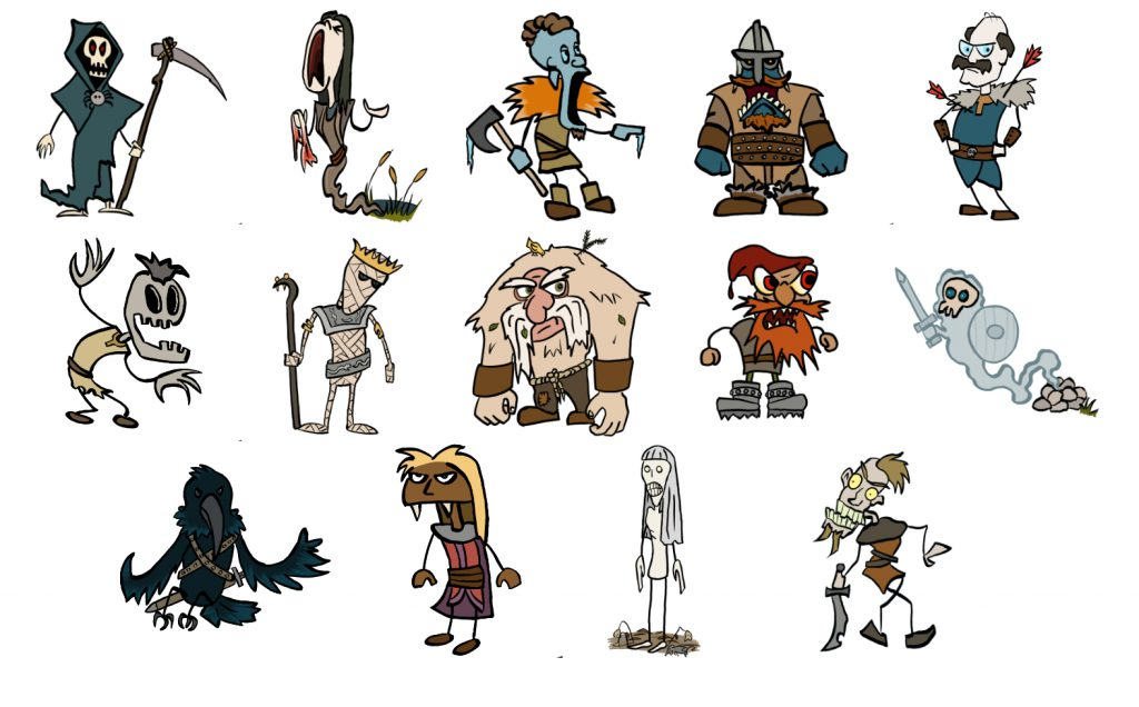 monster doodles: ankou, banshee, barrow wight, draug, fekst, ghoul, mummy, orco, red cap, revenant, valraven, vampyr, white maiden, wraith